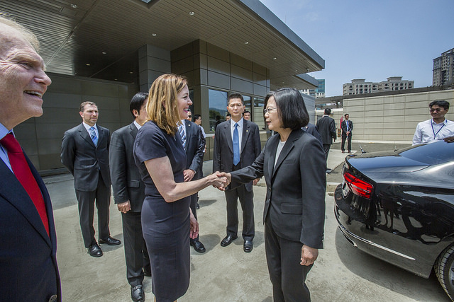 President Tsai arrives at the new American Institute in Taiwan compound in Neihu, Taipei.