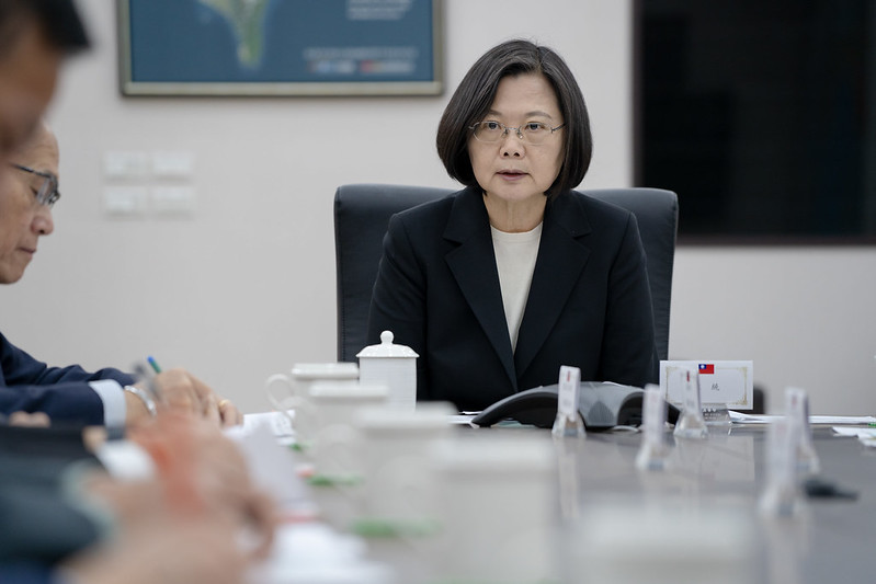 President Tsai Ing-wen convenes a meeting at the Presidential Office to discuss national defense and military affairs.