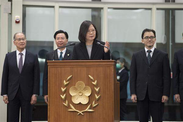 President Tsai delivers remarks at the Taiwan Taoyuan International Airport after returning from her trip to Taiwan's four diplomatic allies in Central America.