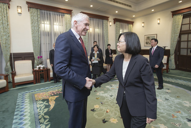 President Tsai meets with American Institute in Taiwan Chairman James Moriarty.