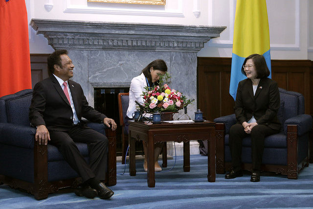 President Tsai Ing-wen meets with Republic of Palau President Tommy E. Remengesau, Jr. and Mrs. Remengesau.