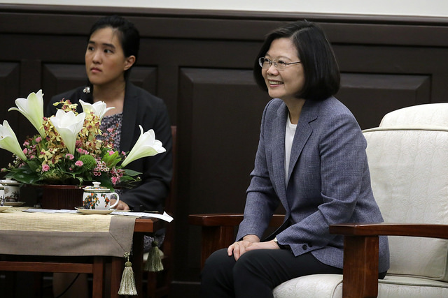 President Tsai Ing-wen meets with American Institute in Taiwan Chairman James Moriarty.
