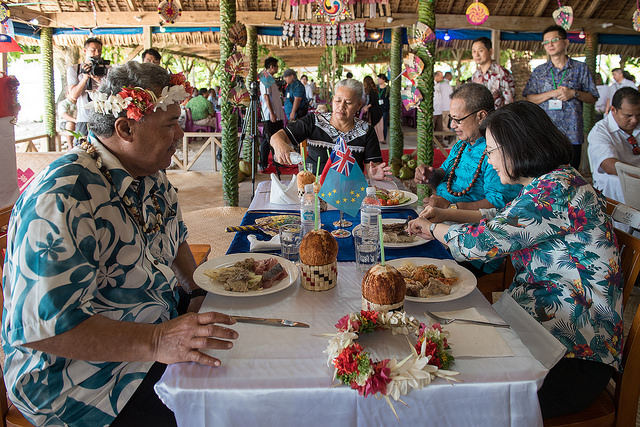 President Tsai Ing-wen attends a state banquet hosted by Tuvalu Prime Minister Sopoaga.