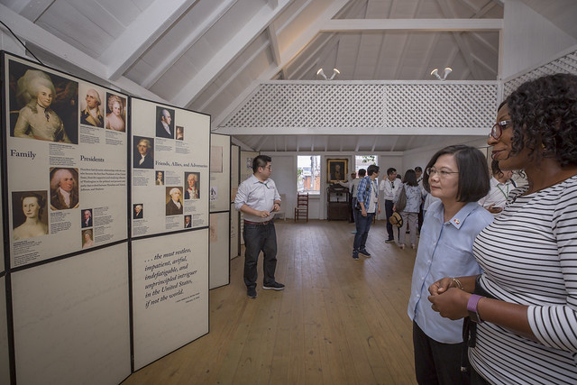 The president visits the Museum of Nevis History and Alexander Hamilton's birthplace.