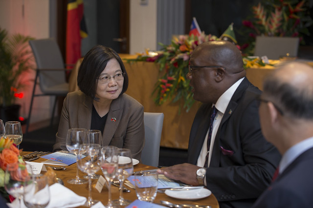 President Tsai attends a dinner banquet hosted by St. Christopher and Nevis Prime Minister Timothy Harris.
