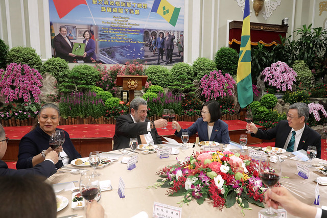 President Tsai hosts a state banquet for Saint Vincent and the Grenadines Prime Minister Ralph Gonsalves and Mrs. Gonsalves.