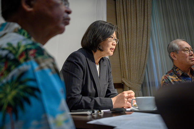 President Tsai attends a videoconference with the Heritage Foundation, a think tank in Washington, DC.