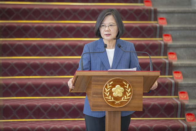 President Tsai delivers remarks regarding China's decision to bar its citizens from independent travel in Taiwan, and their recent military exercises.