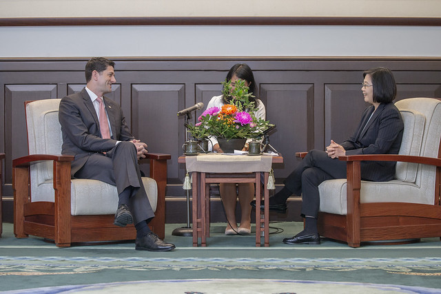 President Tsai Ing-wen meets with former US House Speaker Paul Ryan.