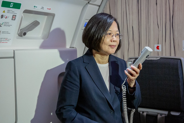 President Tsai delivers remarks aboard aircraft after departing on her Journey of Freedom, Democracy, and Sustainability.