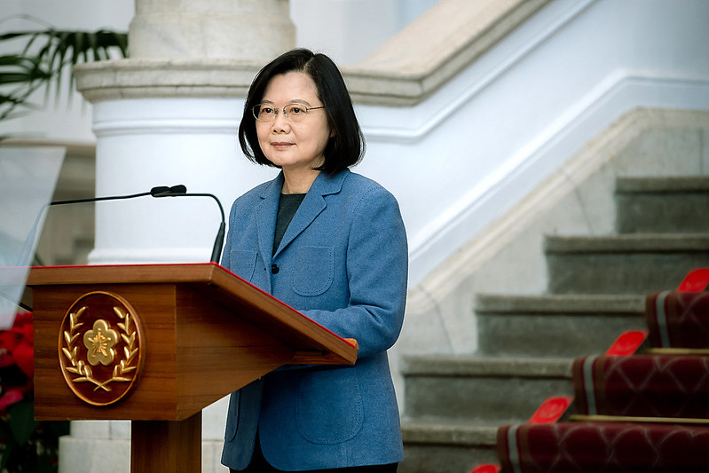 President Tsai delivers her 2021 New Year's Address in the Entrance Hall of the Presidential Office Building.