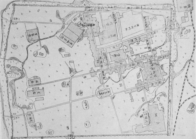 A map of old Taipei drawn during the Japanese colonial period (reprinted from History of Taiwan under Japanese Rule‧臺灣治蹟誌)