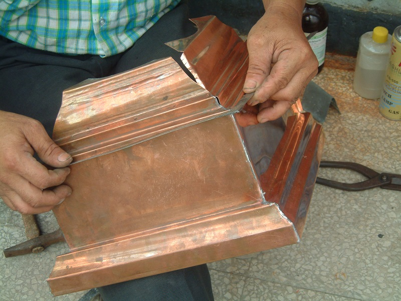 New hand-made copper guttering (courtesy of the office of Shiue Chyn)